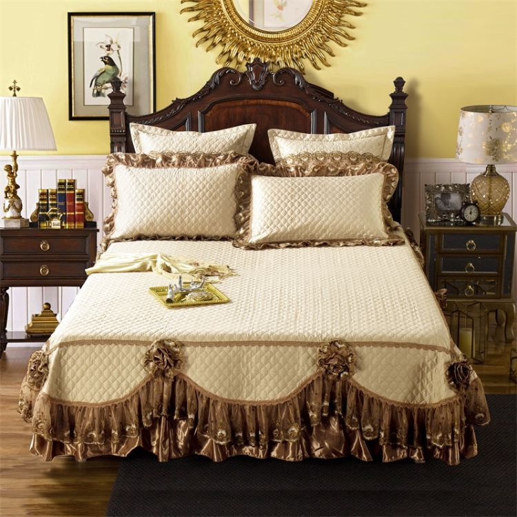 欧式纯棉夹棉床罩 全棉床裙 样板房别墅床上用品