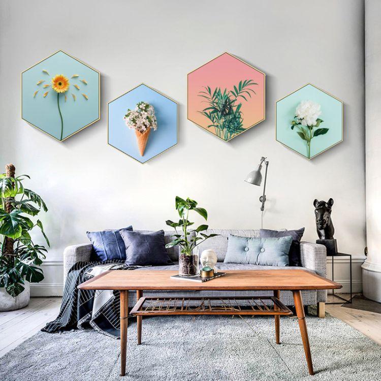 六边形装饰画沙发背景墙画餐厅墙画卧室走廊轻奢挂画墙壁北欧壁画