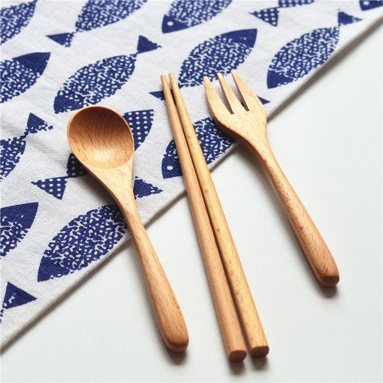 日式木质筷子勺子三件套旅行套装环保学生勺筷叉便携餐具 批发