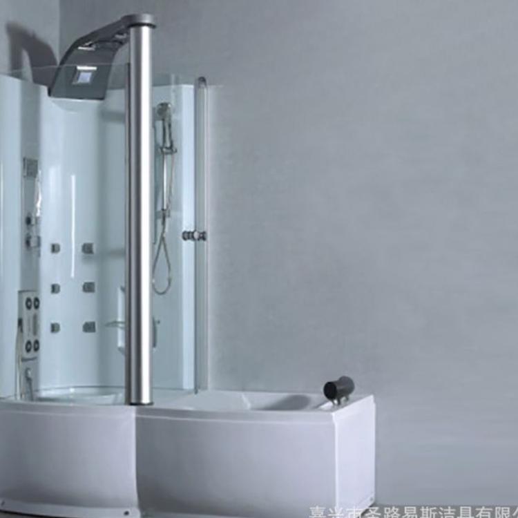 法兰诺整体淋浴房长方L型冲浪按摩浴缸带淋浴房钢化玻璃带淋浴屏