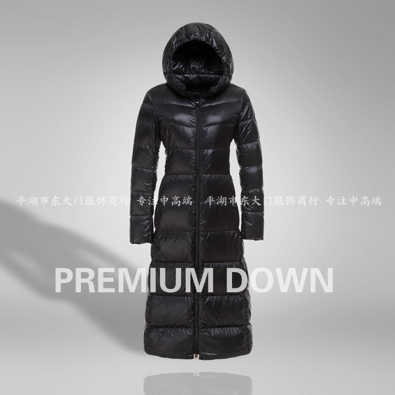 日本品牌外贸原单高端冬装加长款超轻薄羽绒服女款超长款大衣日单