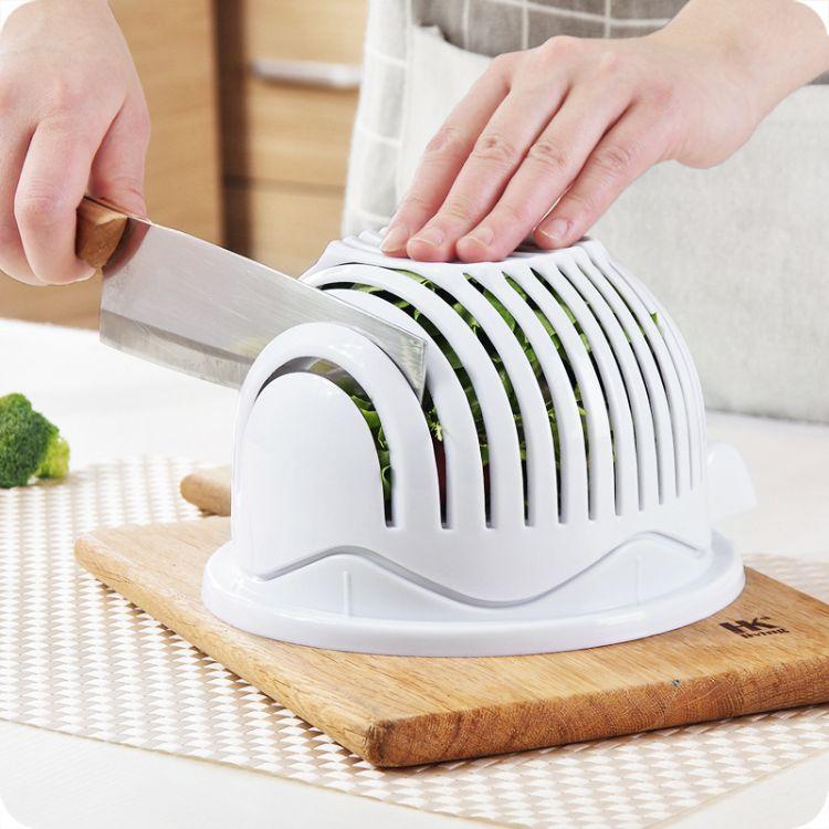 厨房小工具沙拉切割器塑料沙拉碗蔬菜沙拉切割器 水果分割器