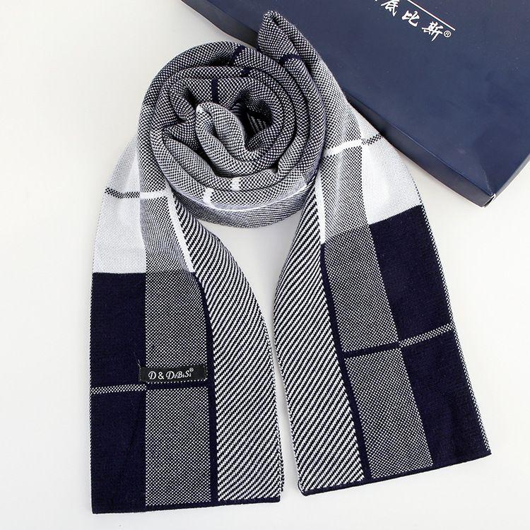 秋冬男士商務精品高檔圍巾 加厚加長保暖小斜格圍巾廠家直銷