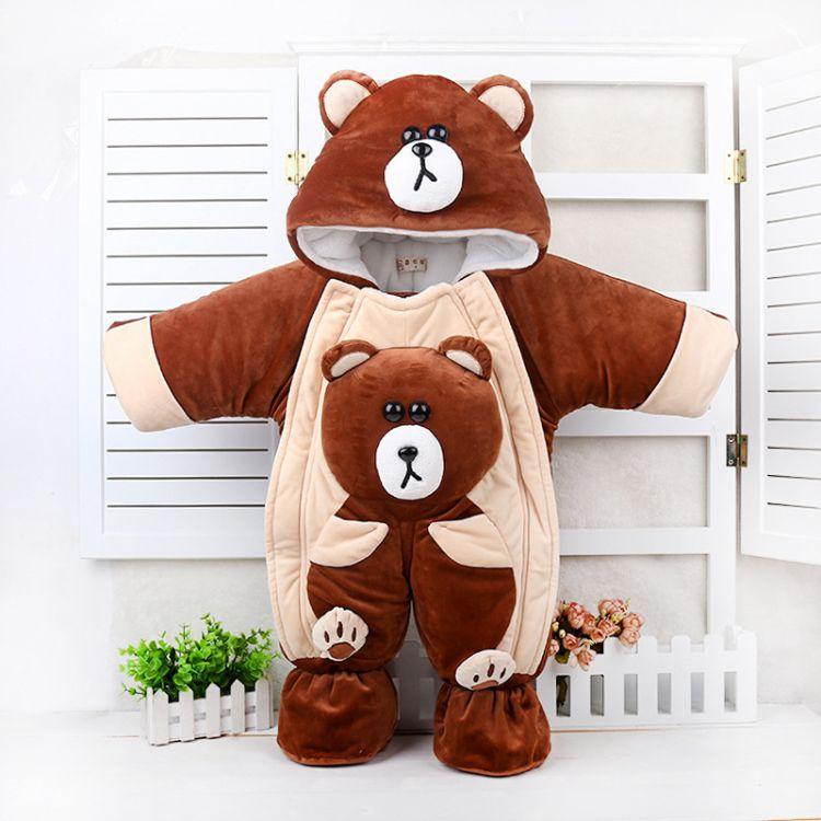 婴幼儿服装 秋冬新款宝宝爬服抱被熊婴儿连体衣加厚童装厂家直销