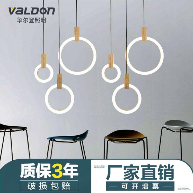 木艺餐厅灯现代简约吧台灯客厅艺术灯具创意圆形环形楼梯装饰吊灯