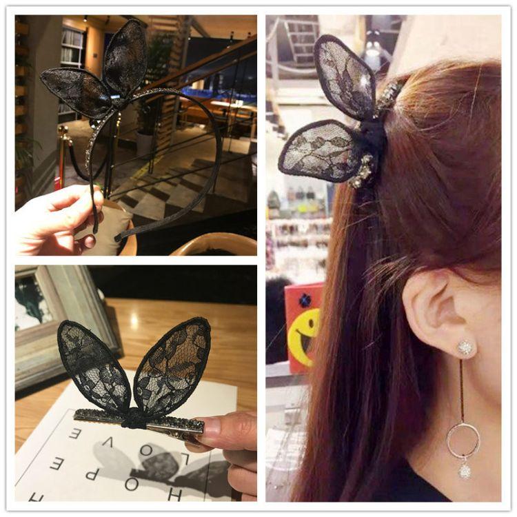 韩国蕾丝猫耳朵发箍发夹可爱超萌兔耳朵头箍甜美发卡洗脸发窟成人