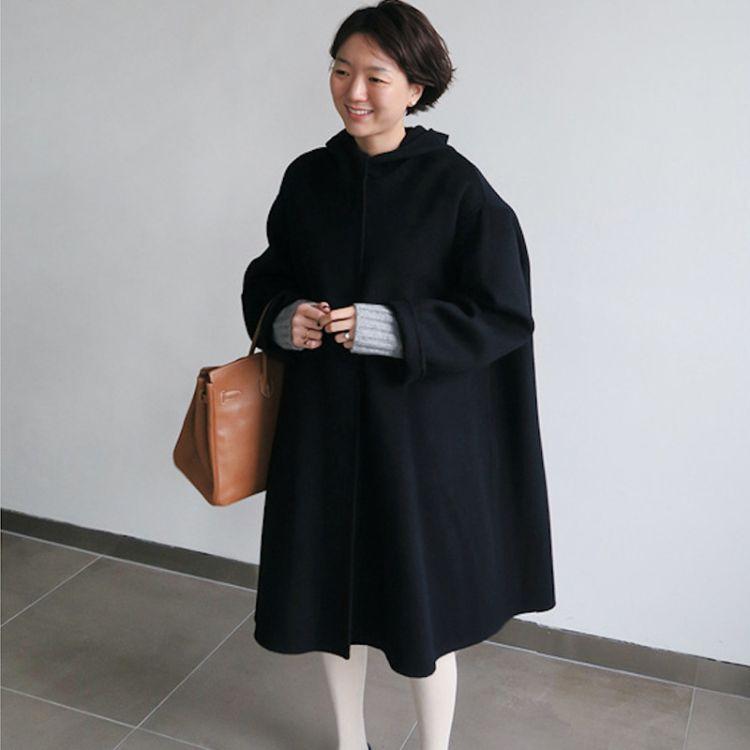 【煦洋】18冬韩国代购官网帽子斗篷宽松大码手缝双面羊绒大衣外套