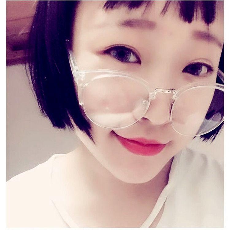 韩国ulzzang原宿风百搭透明半框金属框架平光眼镜可配近视镜框架