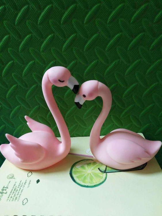 厂家直销蛋糕装饰爱情鸟火烈鸟蛋糕摆件赠品粉红鸟烘焙搪胶带灯光