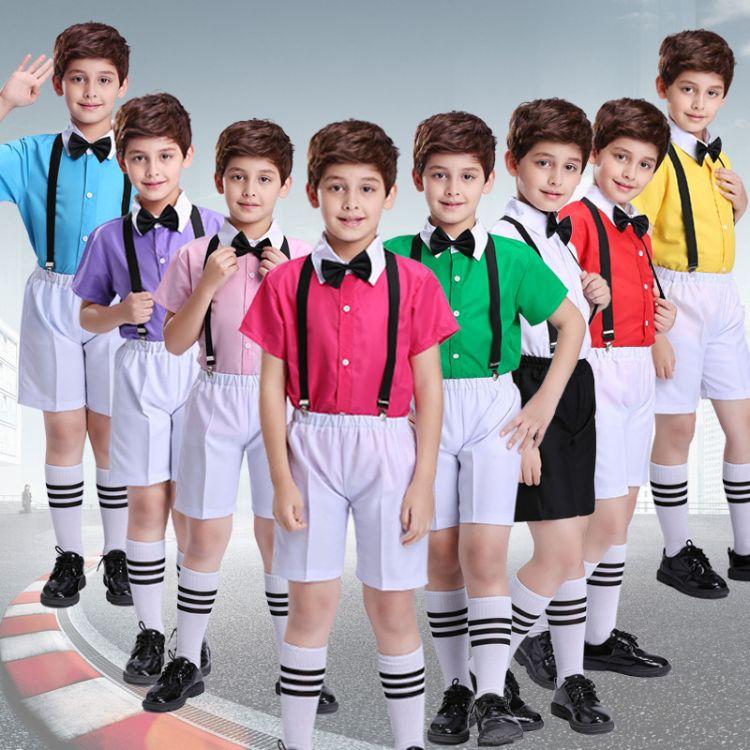 幼儿园教师园服夏小学生背带裤演出服幼儿园园服夏装