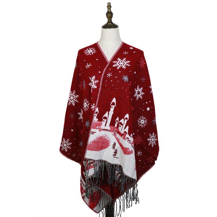 外贸货源冬雪花款提花围巾高档欧美款围巾圣诞小鹿城堡提花围巾女