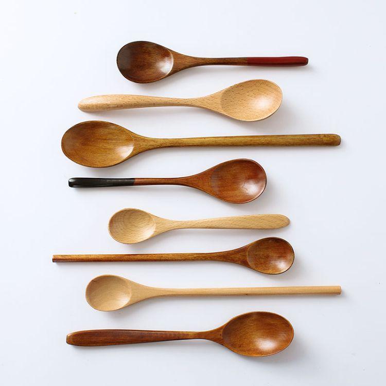 创意日式木勺情侣勺子套装 原木环保勺子汤勺饭勺 老匠人手工制作