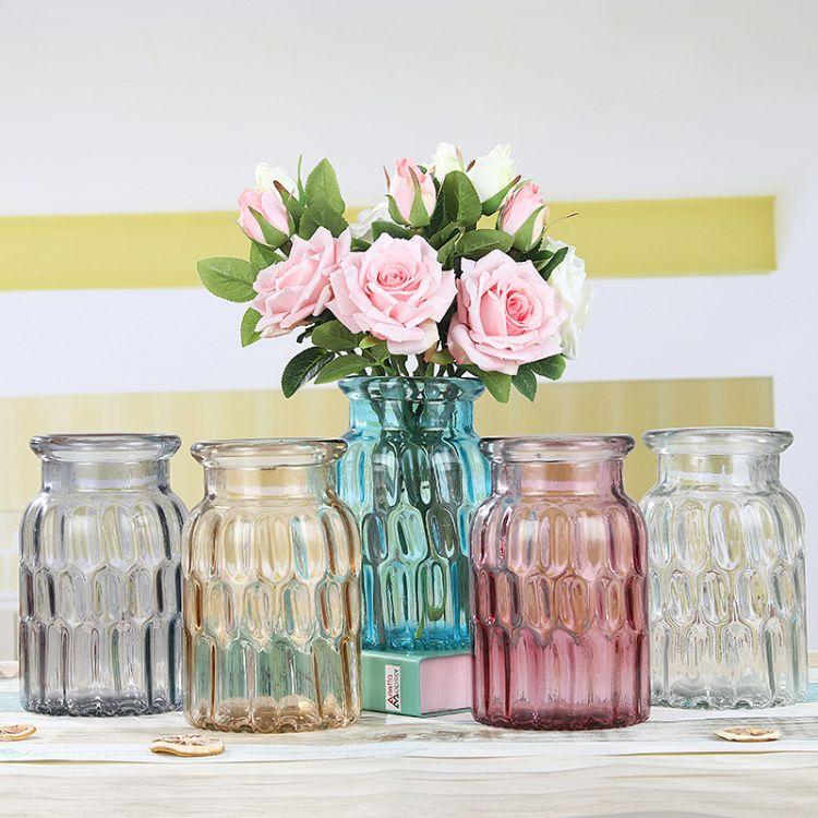 玻璃花瓶方格家居客厅摆件创意插花欧式水培花瓶简约装饰花瓶