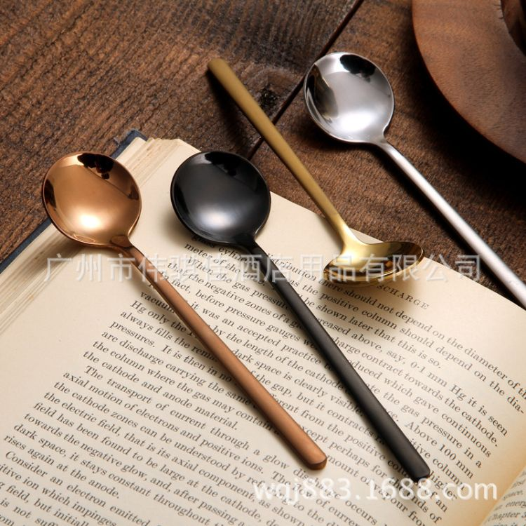 创意304不锈钢勺子甜品不锈钢咖啡勺小圆勺咖啡搅拌勺
