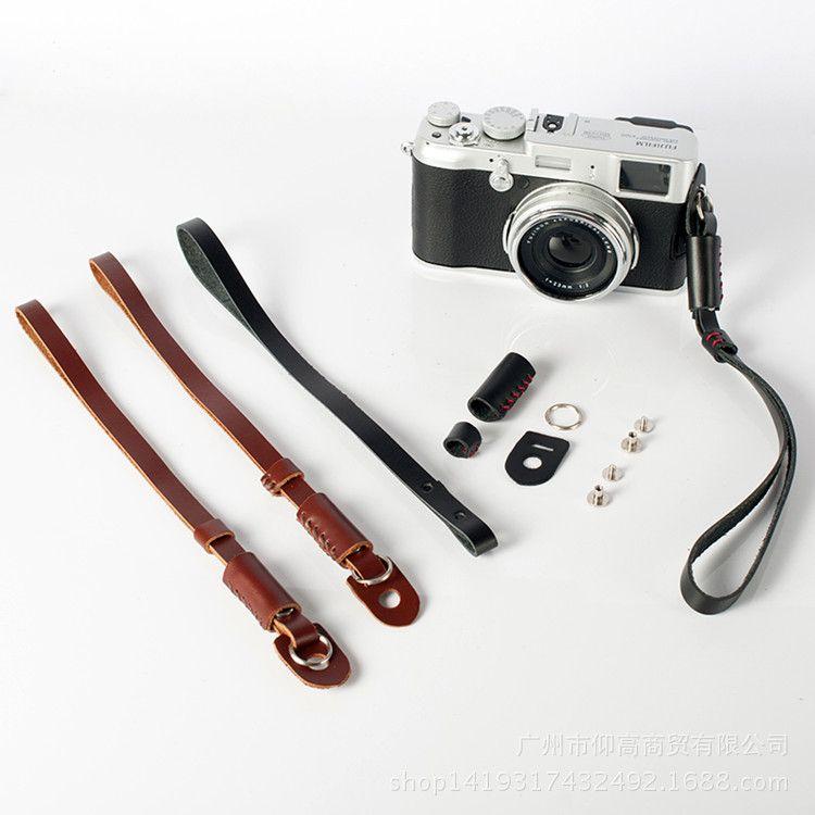 真皮相机手绳适用索尼a7m3 a6300富士XT20手腕带佳能80D810微单反