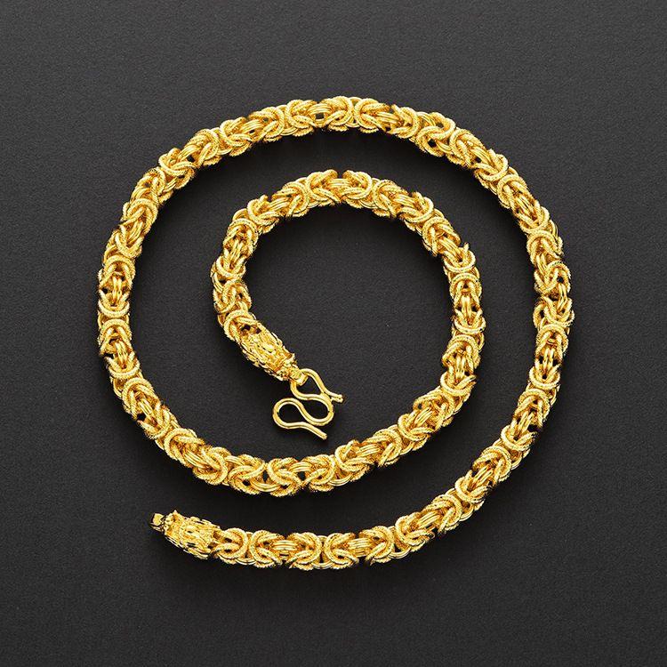 快手爆款 越南沙金男士布紋雙龍頭項鏈 黃銅鍍金首飾貨源飾品批發
