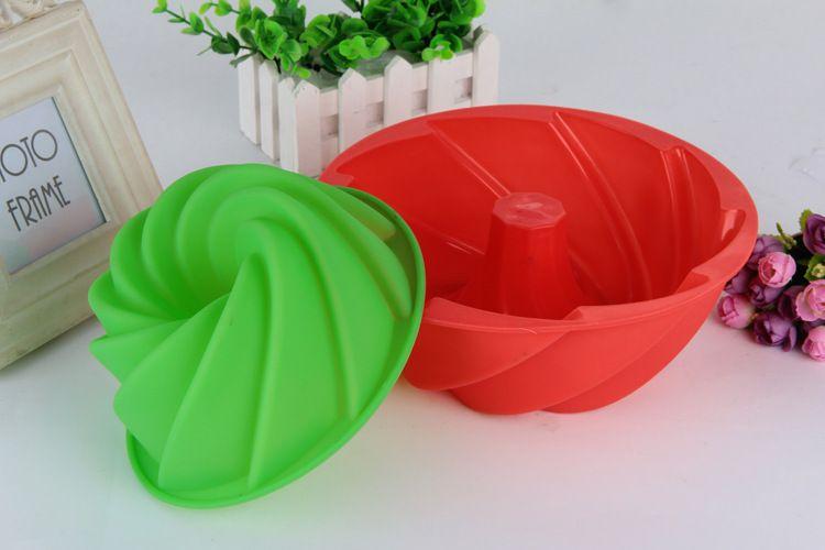 食品级蛋糕模 烘焙磨具 硅胶DIY蛋糕杯大号空心螺旋蛋糕硅胶磨具