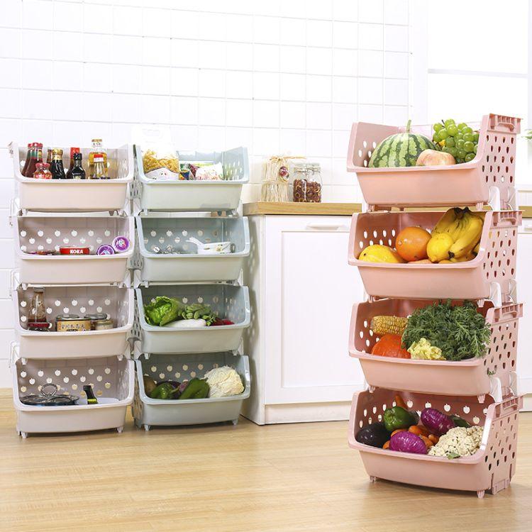 多层厨房收纳篮果蔬筐蔬菜收纳筐多功能可叠加储物篮整理置物架