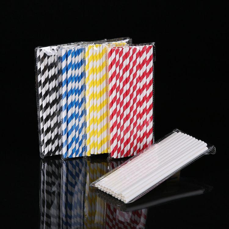 50支装现货螺纹纸吸管一次性直管食品级材质paper straw12色可选