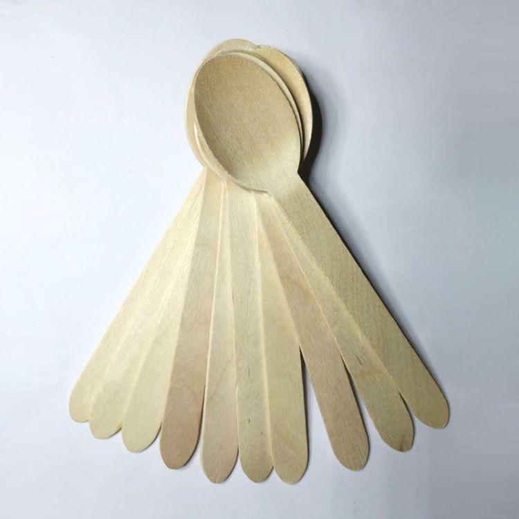 一次性木制刀叉勺木质勺子木制160勺定制 logo烙印 彩印木勺餐具