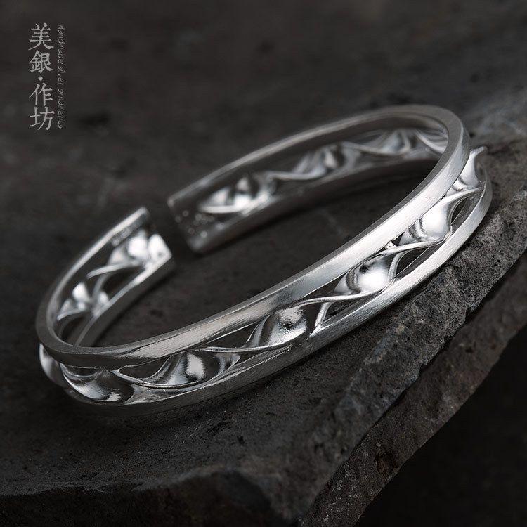手工银饰一件代发 原创设计纯银光面波浪手镯 开口旋钮之音手镯
