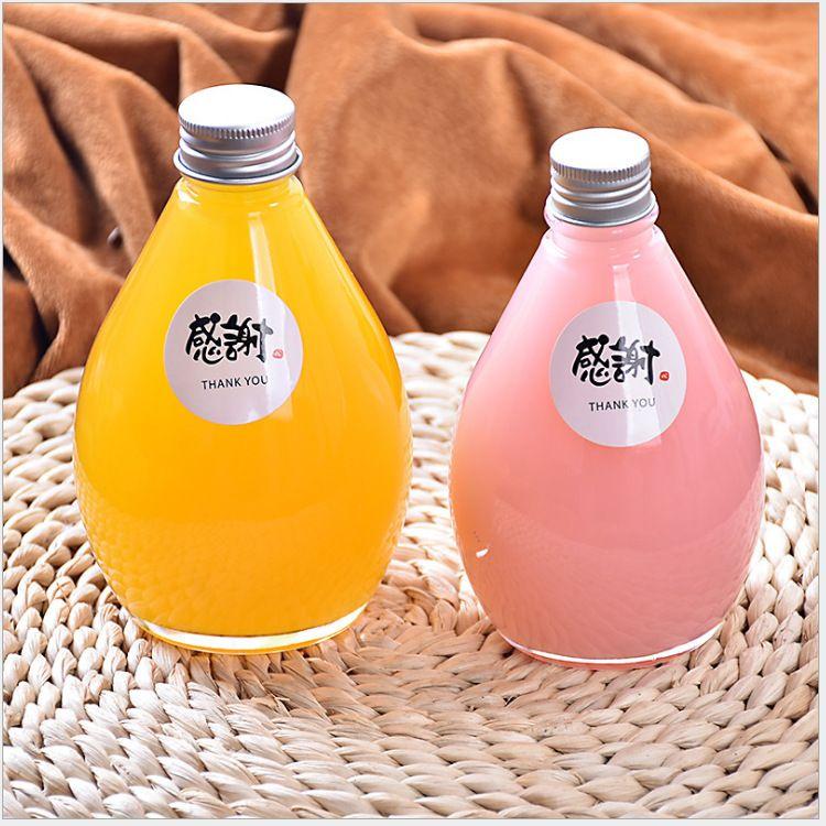 厂家新款玻璃瓶果酒瓶饮料瓶 创意奶茶瓶 铝盖玻璃酵素瓶果汁瓶