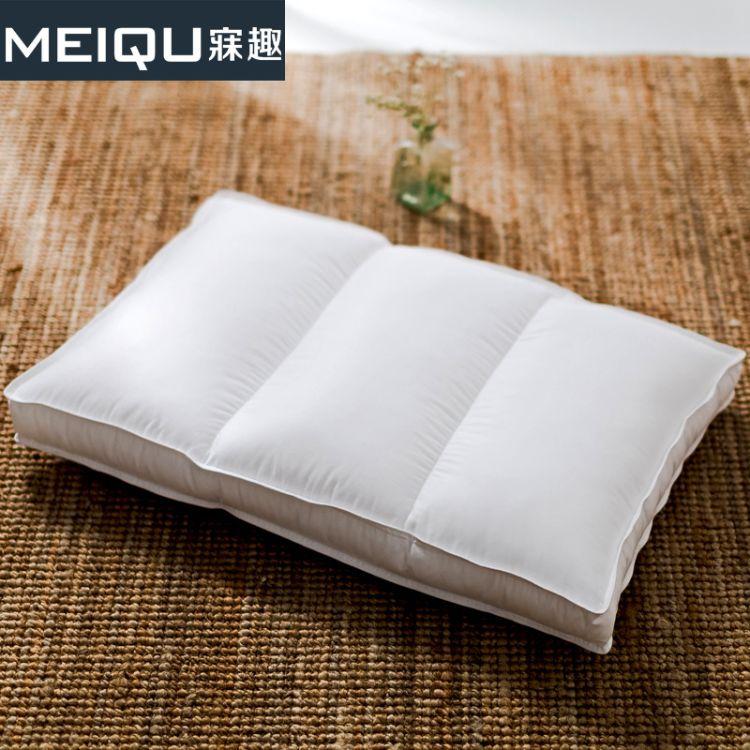 家纺产地直销全棉护颈羽丝绒软枕头 厂家批发立体羽丝绒颈椎枕头