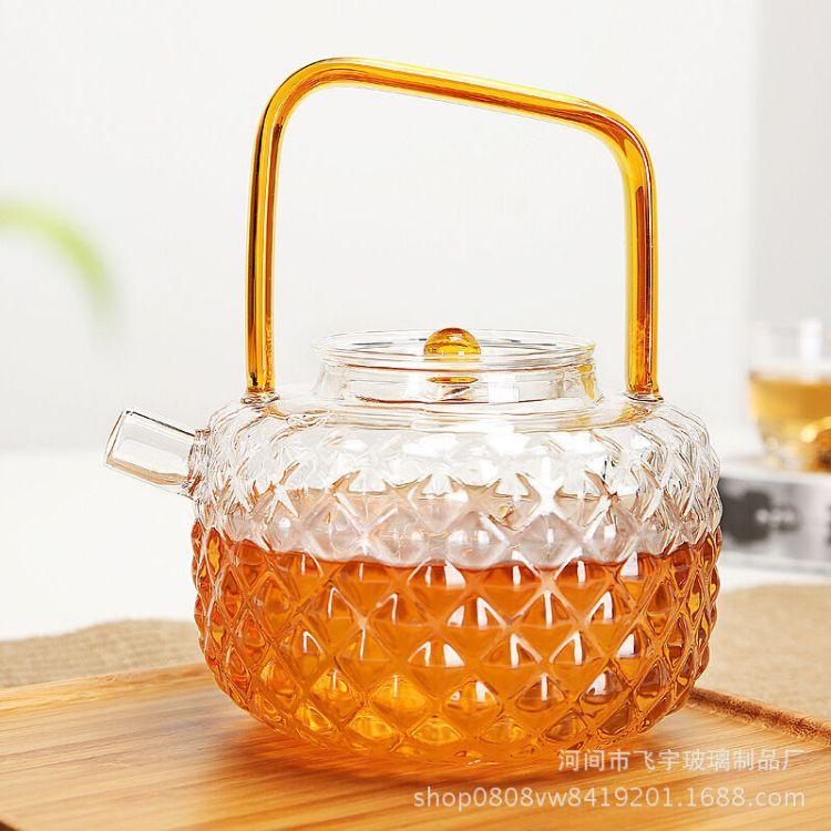 玻璃花茶壶煮茶烧水防冻耐高温高硼硅玻璃茶壶琉璃把提梁壶