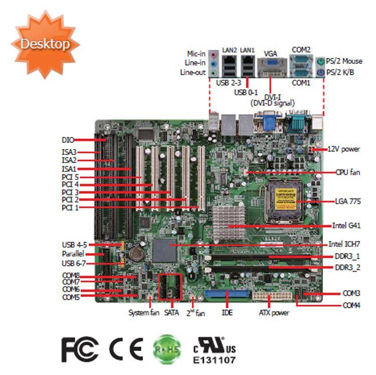工控机大母板EL620 G41芯片组 四核主板3个ISA,5PCI研华工控机