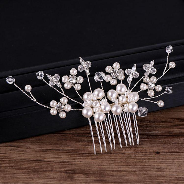 新娘珍珠水钻插梳头饰 外贸热销款新娘发梳饰品珍珠插梳头饰批发
