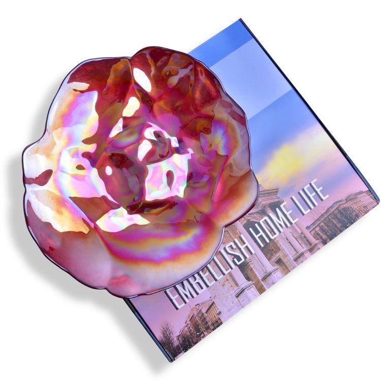 实用新年礼品 彩盒包装五彩电镀玻璃果盘 礼品玻璃盘 装饰玻璃盘