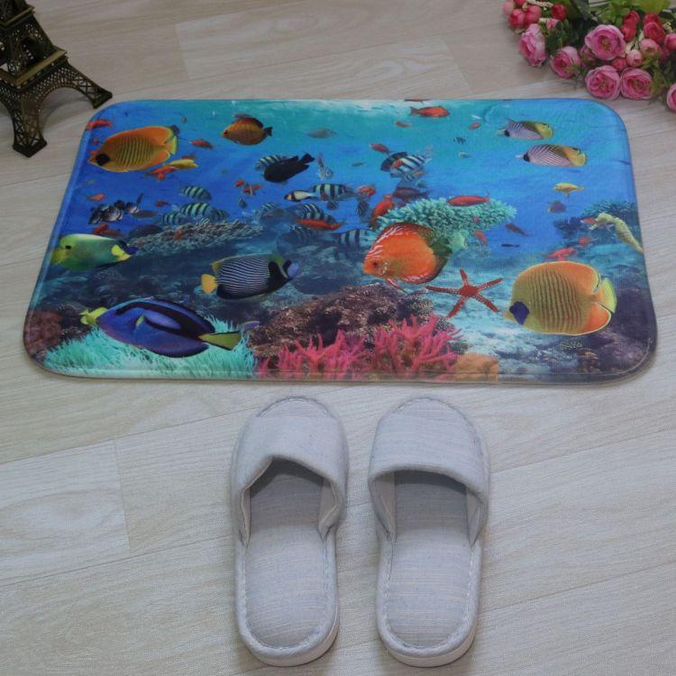 3d印花地垫浴缸垫pvc 吸盘 客厅卧室玄关地垫门垫 浴室防滑垫 pvc