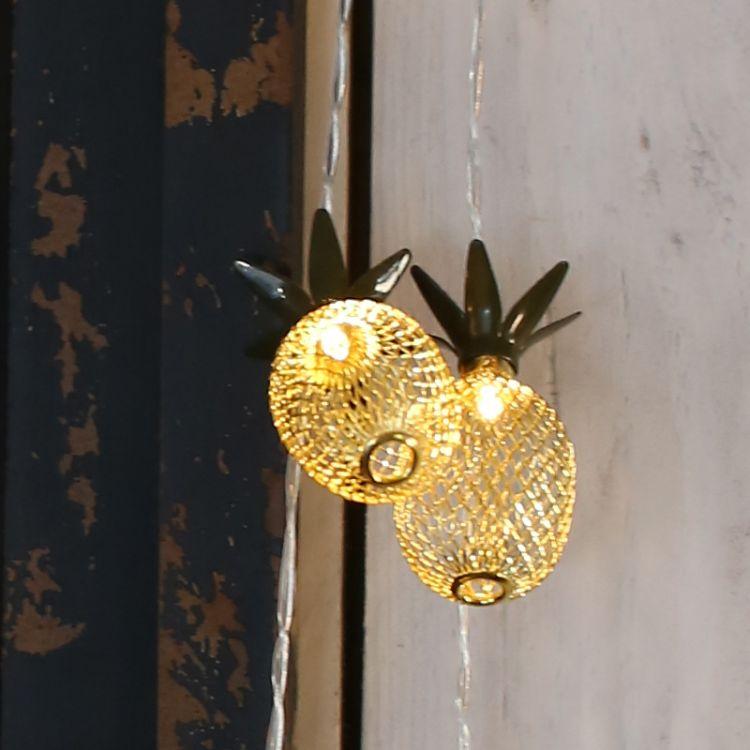 LED铁艺菠萝彩灯圣诞节日灯串晚会庆典布景装饰灯电池灯串装潢灯