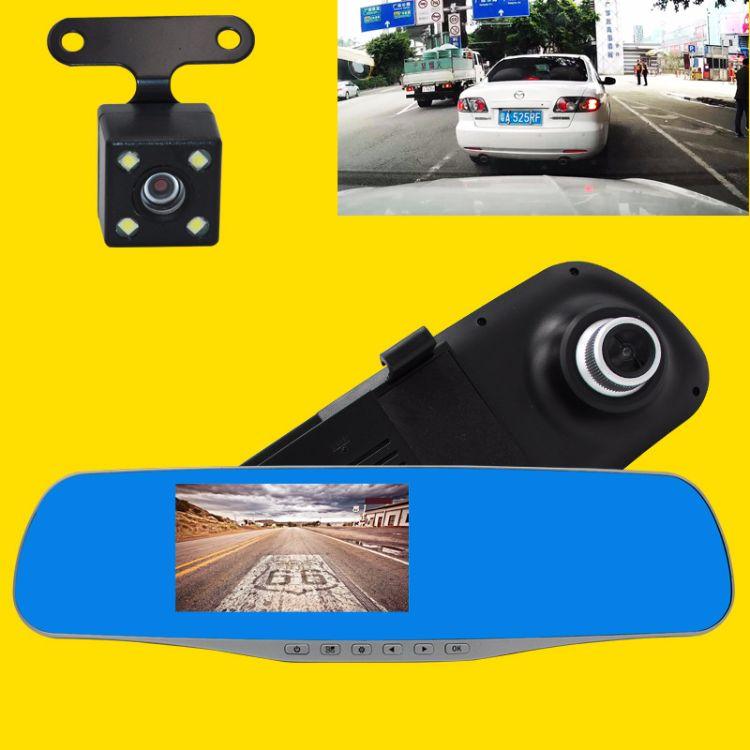 车载后视镜行车记录仪XH3004.3寸显示屏双录高清夜视跨境专供