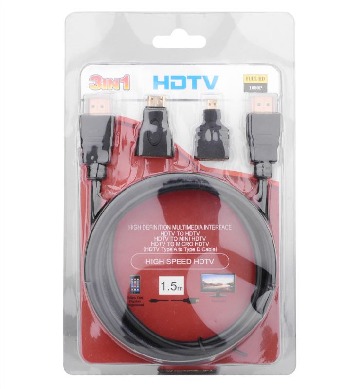 3IN 1 HDTV 3合1 HDTV线 HDMI TO MINI HDMI TO MICRO HDMI 1.5M