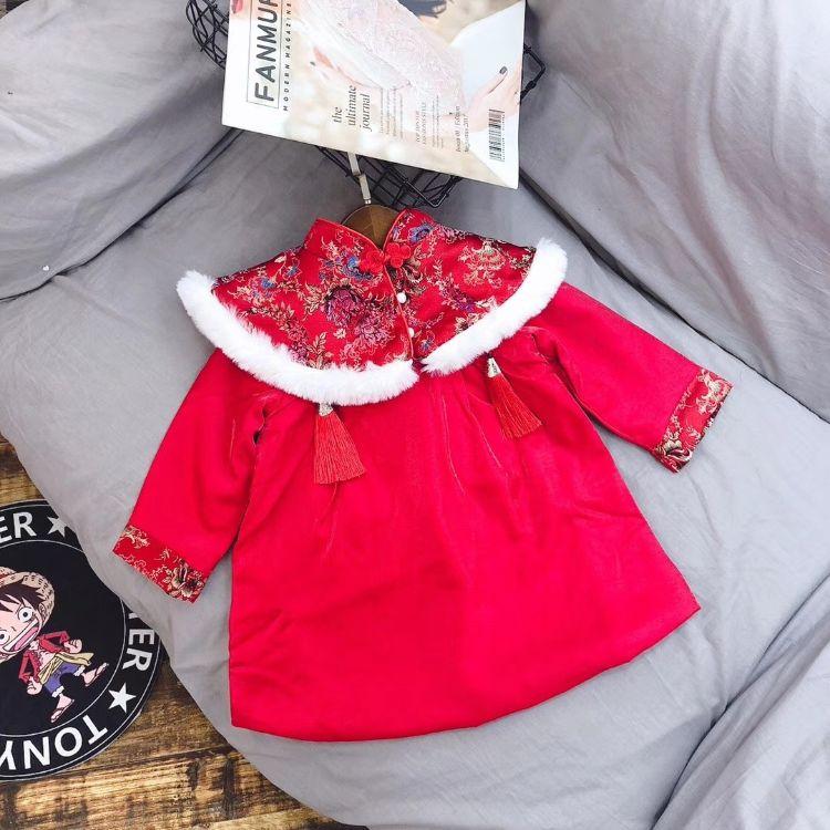 童装批发新年款女童毛领夹棉连衣裙儿童红色刺绣盘扣裙子一件代发
