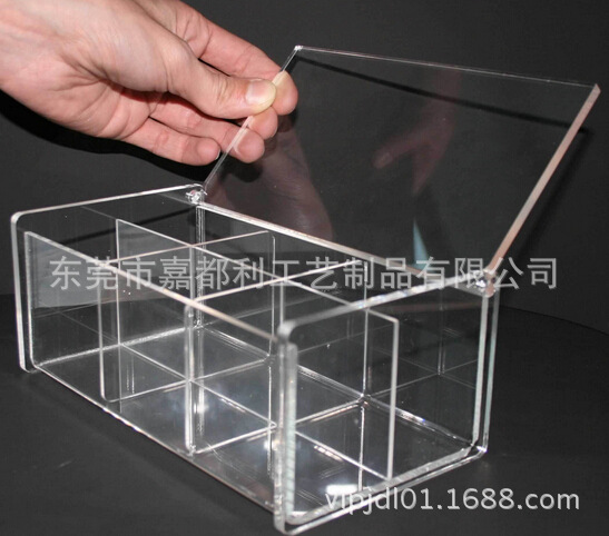 厂家制作亚克力展示盒家用有机玻璃收纳盒 棉片盒 两格翻盖棉片盒