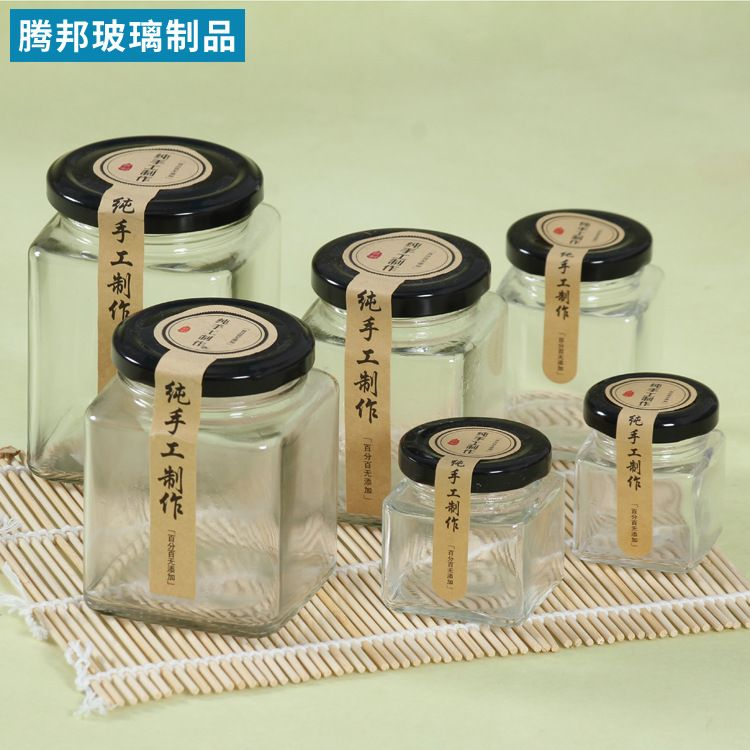 500g六棱蜂蜜瓶 380ml玻璃瓶腐乳瓶酱菜瓶l方形玻璃瓶 方瓶