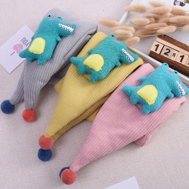 韓版小恐龍交叉兒童圍巾男童純棉鱷魚女童嬰兒寶寶圍巾保暖小圍脖
