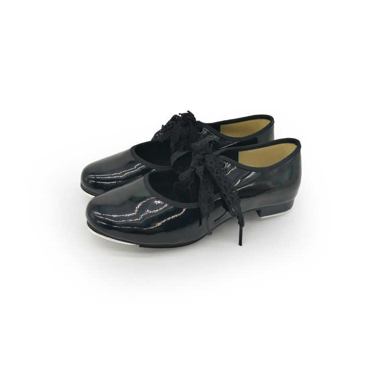 儿童踢踏舞鞋 女童黑色PU猫儿系带踢踏舞蹈鞋 tap shoes 订做批发