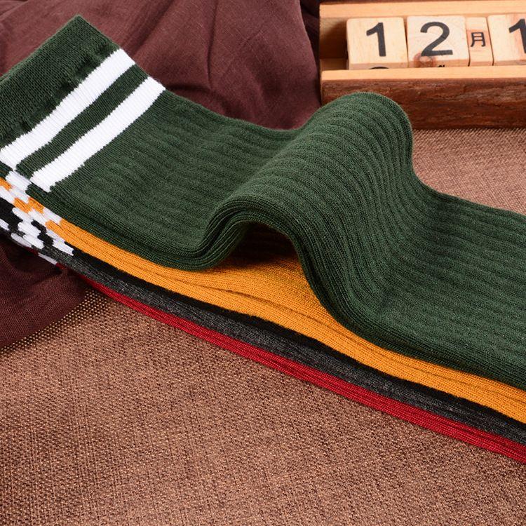 女士直筒无根袜公主袜保暖棉袜子韩版日系双针条纹长筒袜厂家批发