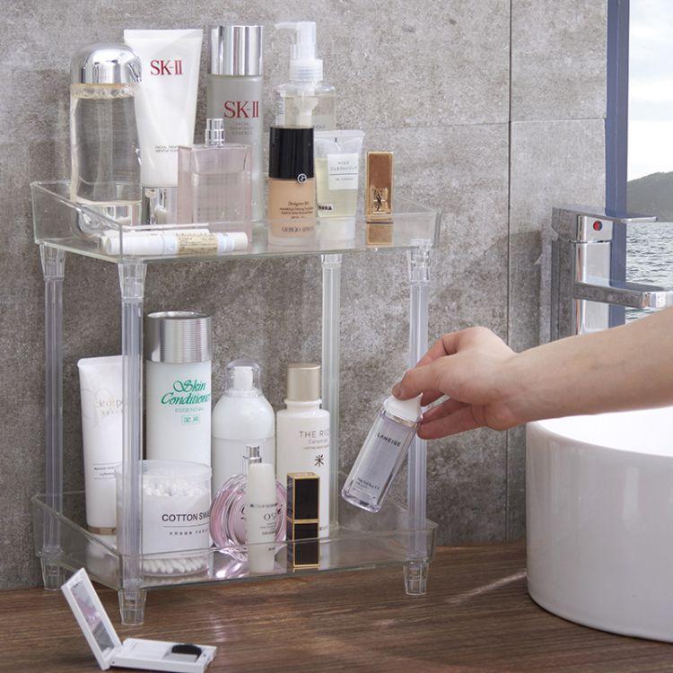 多功能厨房收纳架浴室卫生间置物架双层可拆卸化妆品置物架批发