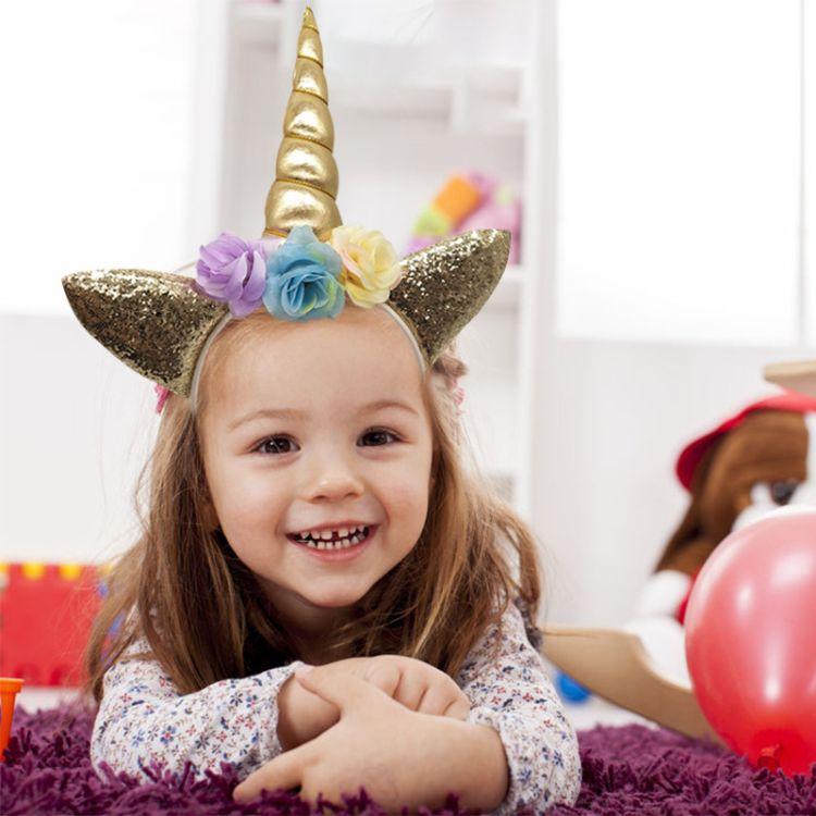跨境专卖独角兽发箍 儿童独角兽派对头箍发带 公主生日派对头饰