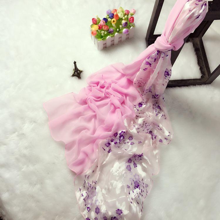 淺紫色小碎花爛花雙拼絲巾雪紡拼接春款名族風絲巾2018春款