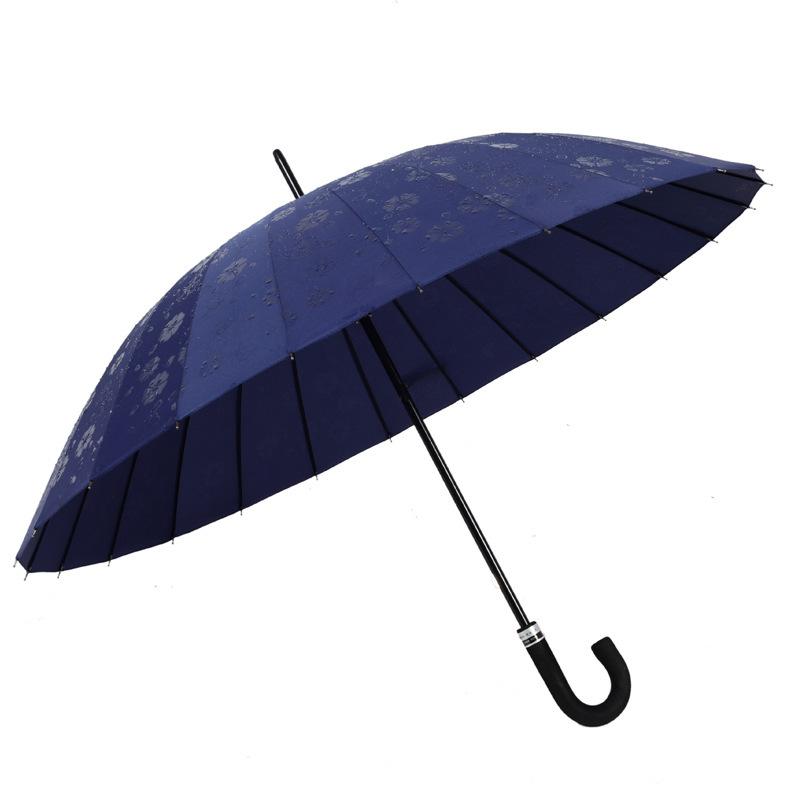 雨伞批发24骨遇水开花直杆商务伞 户外遮阳防晒直杆伞弯钩商务伞