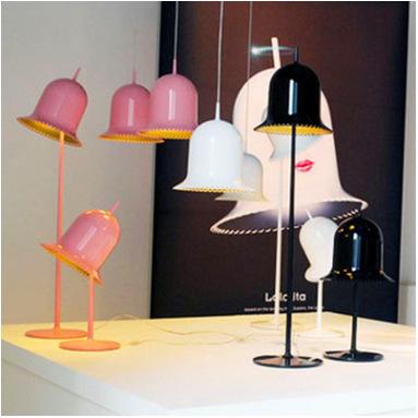 铃铛立式台灯卧室床头粉红色台灯 卧室书房吊灯 喇叭落地灯吊灯