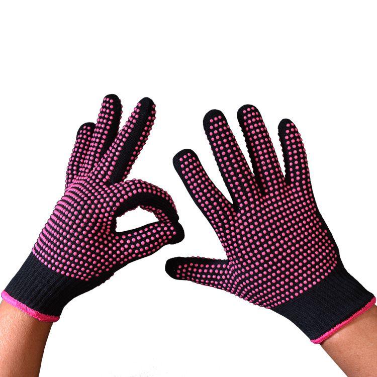 厂家直销耐高温手套300度点PVC胶和点硅胶防烫隔热卷发棒手套