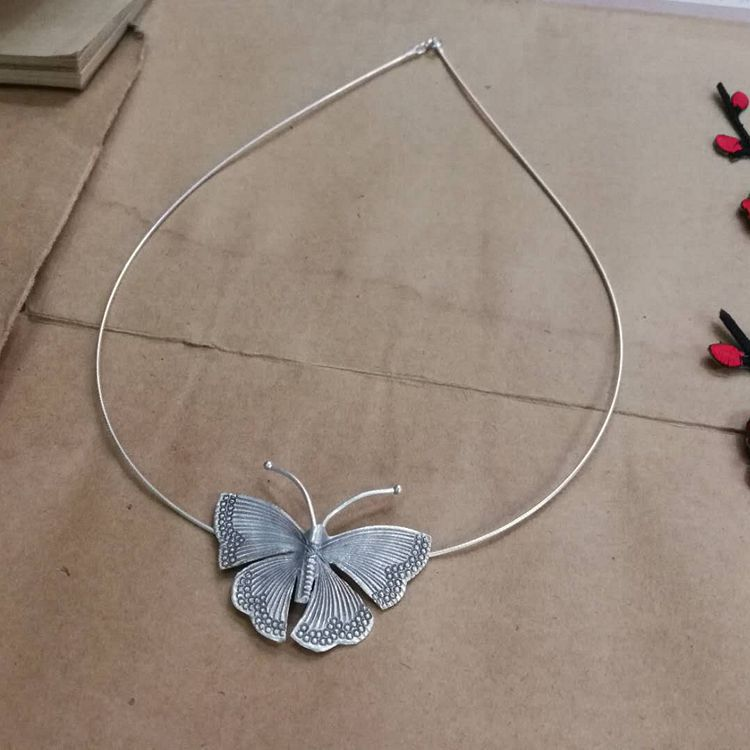 S925纯银蝴蝶项圈原创手工银成蝶大蝴蝶锁骨项圈批发一件代发