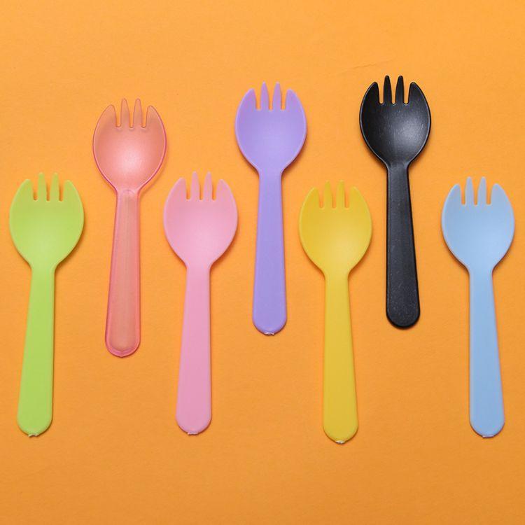 勺子 一次性水果叉勺子 塑料 甜品蛋糕勺 冰淇淋独立包装勺