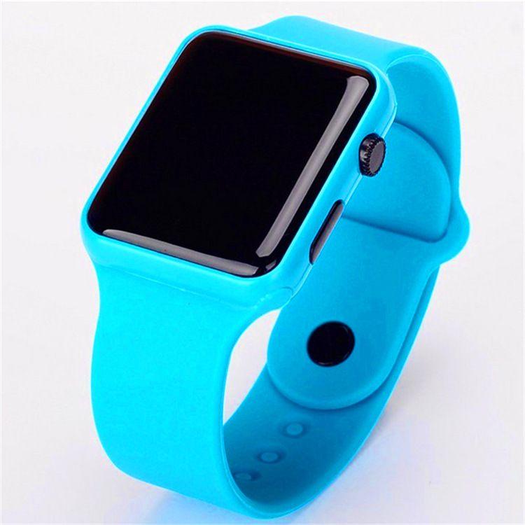 外贸新款韩版硅胶LED手表学生触屏方形大苹果led手表塑胶手表批发